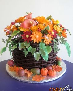Fall Flower Basket Cake - CMNY Cakes...so pretty...I wouldn't want to cut into it