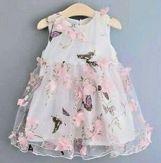 2016 Butterfly Print Girls Dresses Summer Petal Voile Sleeveless Kids Dresses for Girls Clothes Party Princess Dress Baby Girl Party Dresses, Birthday Girl Dress, Wedding Dresses For Girls, Little Girl Dresses, Nice Dresses, Girls Dresses, Summer Dresses, Dress Girl, Fashion Kids