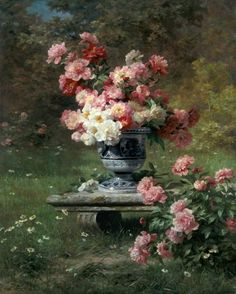 Vase with pink roses in a garden by Louis Lemaire