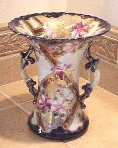 Cobalt blue and dogwood English vase