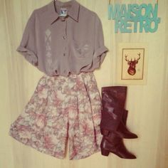 grey blouse flower shorts