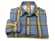 Hugo Boss M Men's Orange Label Multi-Color Button Front Shirt Medium Colorful #HugoBoss #ButtonFront