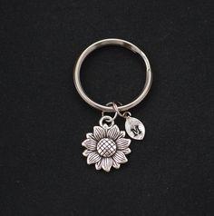 sunflower keychain initial keychain silver flower by vespestudio
