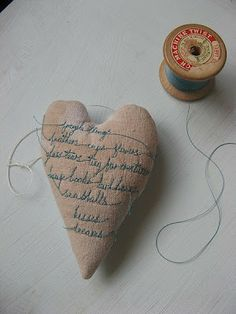 Linen heart ... stitched with love ... tiny words.