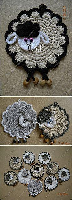 Вязание крючком. Прихватки ОВЕЧКИ. Мастер-класс | Подружки Crochet Potholders, Crochet Stitches, Crochet Patterns, Sewing Kit, Hobbies And Crafts, Pot Holders, Sheep, Needlework, Origami