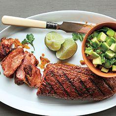 Spanish Pork with Apple-Citrus Salsa | Our Best Grilled Pork Recipes  | MyRecipes.com