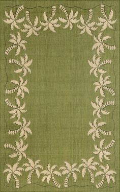 Green Area Rug With Palm Tree Border