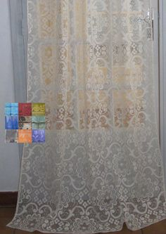 """Lace Curtain, French Lace White Door Curtain, Custom Colour - 39x82"""" $29.00"""