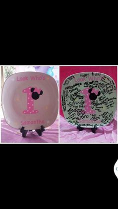 Minnie mouse 1st birthday plate pink by BaberzCouture2012 on Etsy