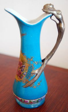 Porcelain Vase Pitcher With Bronze Mermaid Handle Hung Hei China Rare Design