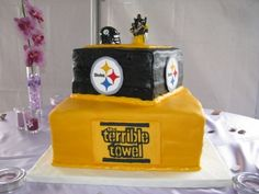 Steelers wedding cake By jo3d33 on CakeCentral.com
