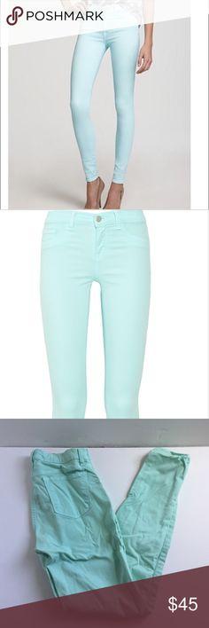 J brand mid rise skinny jeans in mint green Stretch skinny jeans j brand J Brand Jeans Skinny