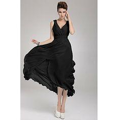 Women's Wrap V Neck Asym Hem Maxi Dress – USD $ 25.89
