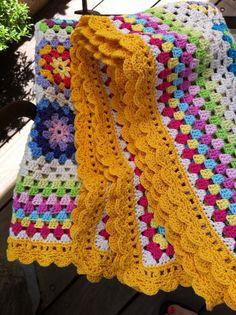 crochet blanket granny square colourful by CrochetObjet on Etsy