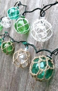 Nautical string lights inspired by glass floats.