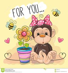 Illustration about Greeting card cute cartoon Monkey with flower on a yellow background. Illustration of holidays, baby, illustrations - 83891565 Cute Cartoon Boy, Kitten Cartoon, Cartoon Monkey, Cartoon Elephant, Cute Monkey, Monkey Girl, Beautiful Drawings, Cute Drawings, Dibujos Baby Shower