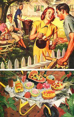 BBQ I loe the wheelbarrow idea Retro Advertising, Vintage Advertisements, Vintage Ads, Vintage Posters, Vintage Food, Backyard Party Decorations, Vintage Housewife, Morning Cartoon, 1940s