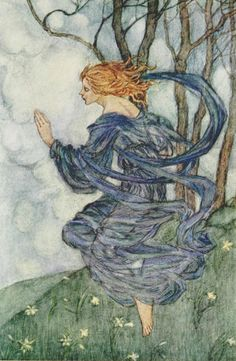 """Wind, wind! thou art sad, art thou kind?"" Illustration by Florence Harrison from 'The Wind' from 'Early Poems of William Morris.' Published by Blackie & Son Ltd. 1914. archive.org"