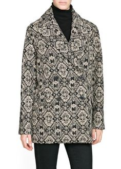 'Mango Women's Ethnic Pattern Coat, Black, S Oversize double-breasted coat with ethnic pattern, notched lapels and twin flap pockets. Macahon. 47% polyester,30% cotton,18% wool,4% acrylic,1% polyamide Lining: 100% polyester. No washing, do not bleach, ironing max 110°c / 230ºf, dry cleaning perchloroethylene, do not tumble dry.  #MANGO #Apparel