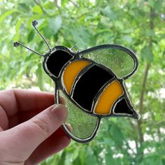 Bumble Bee Suncatcher  Stained Glass by IdahoSparkles on Etsy