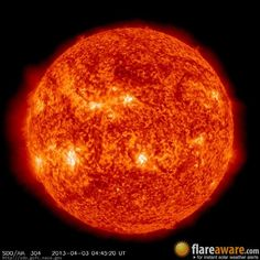 The hourly sun (at 04:45 am  UTC on  3 April 2013)