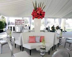 Not a huge fan of all white parties but I like the pop of color at this one- by Events of Distrinction