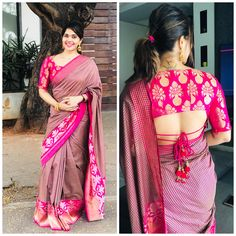 pattu saree blouse designs 2019 Here are perfect Pattu Saree Blouse Designs Choose your silk saree blouse design from our list with latest trendy neck designs Blouse Designs Catalogue, Pattu Saree Blouse Designs, Stylish Blouse Design, Fancy Blouse Designs, Bridal Blouse Designs, Indian Blouse Designs, Design For Blouse, Sari Design, Choli Designs
