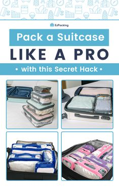 The ONLY hack you need for an organized suitcase... Clear packing cubes! These babies will save you from hassle and stress. It's the only product you need to pack your suitcase like a pro. Maximize luggage space, organize in style and have an epic trip! Click here for more packing tips and hacks. #packinghacks #packingtips #suitcasetips #luggagetips #packing Beach Vacation Packing List, Packing List For Vacation, Road Trip Packing, Packing For A Cruise, Road Trip Hacks, Packing Tips For Travel, Travel Hacks, Travel Ideas, Packing Ideas
