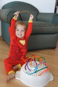 Talk about colors, practice using fine motor skills, keep the baby busy - LOVE it! =)