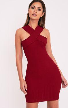 Aramiah Dark Red Ribbed Knit Body Con Mini Dress Image 1