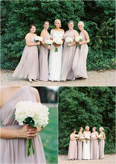 Love the neutral color of these bridesmaids dresses! lick to view more! @steph1874 @khannahphoto