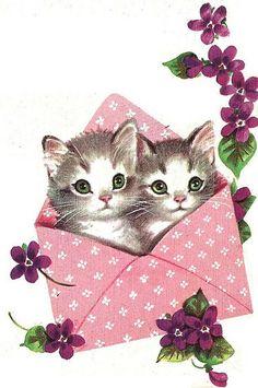 lindísima ilustración de gatitos y violetas...