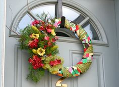 Colorful Summer Yarn and Fabric Wreath with Blue by AmyLaRoux, $45.00