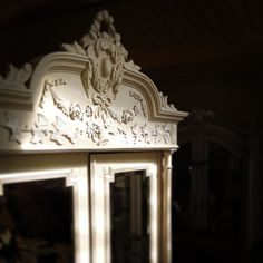 beautiful light on one of our decorative French antique armoires