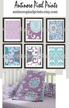 Brooklyn Art Baby Nursery Art Prints Collection  -Set of 6 - 8x10 Prints -Baby Purple Blue White   (UNFRAMED)