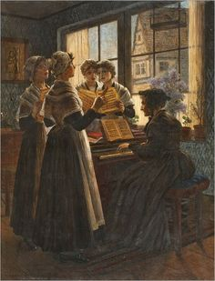 Walter Firle (1859 – 1929, German) - Singing Lesson at the Orphange