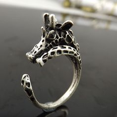2016 Adjustable giraffe Ring Rings Jewelry Antique Silver Free Size Animal Jewelry Gift For Men&Women For Pet Lovers GR0036