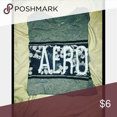 Aeropostale t shirt Floral design, gray black and white.   Size small Aeropostale Tops