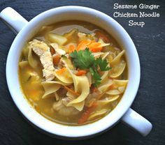 Sesame Ginger Chicken Noodle Soup: packed with flavor and nutrition this soup is great for a quick weeknight dinner // A Cedar Spoon