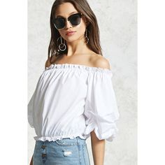 Forever21 Ruffled Off-the-Shoulder Top ($23) ❤ liked on Polyvore featuring tops, blouses, white, white blouses, white crop tops, ruffle blouse, white off shoulder blouse and long-sleeve crop tops