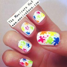 Super Cute Neon Kitty Pawprint Nails