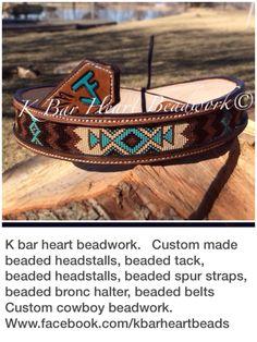 K bar heart beadwork.   Custom made beaded headstalls, beaded tack, beaded headstalls, beaded hatbands, beaded spur straps, beaded bronc halter, beaded belts  Custom cowboy beadwork.   Www.facebook.com/kbarheartbeads