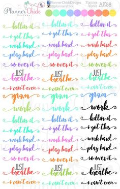 Colorful Planner Words Planner stickers. Fits perfectly in the vertical Erin Condren Life Planner and the Happy Planner!