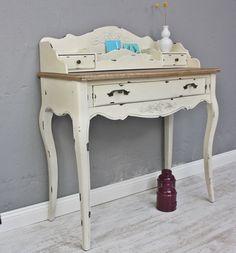 Konsole Sekretär weiß braun antik Landhaus Luxus NEU beige Massiv Holz Tisch im Elbmöbel Online Shop