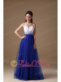 White and Royal Blue A-line Sweetheart Floor-length Tulle and Taffeta Beading Prom Dress  www.fashinos.com  Simple and elegent! A fitted, strapless bodice is made of an all-over ruches accenting the sweetheart neckline. The unique design on the bust area contours your curve. The blue skirt flowing freely with the breeze. The simple zipper up back completes the look. You are sure to be charming and fabulous at your very special day!