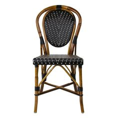 Black & cream Mediterranean bistro chair - french, italian - copy of Made by Maison Gatti since 1920 these are constructed out of rattan and Rilsan, a natural polymer made of castor oil.