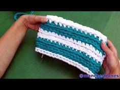 Bolso rectangular de trapillo   Tutorial DIY Crochet XXL