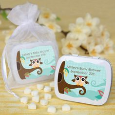 Owl - Look Whooo's Having A Baby - Mint Tin Personalized Baby Shower Favors