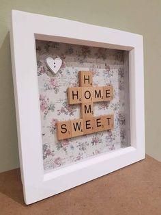Scrabble Letter Crafts, Scrabble Tile Crafts, Wooden Scrabble Tiles, Scrabble Frame, Scrabble Art, Frame Crafts, Craft Frames, Diy Crafts, Letter Collage