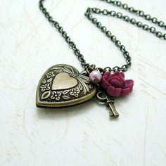 Key and Heart Locket Necklace Antiqued Brass Vintage by DearMillie, $26.00